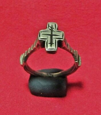 Byzantine Ancient Silver Cross Ring