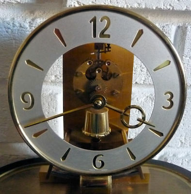 VINTAGE KIENINGER & OBERGFELL SKELETON MANTLE CLOCK c/w GLASS DOME- 9 PICS