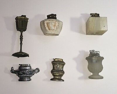 Lot Of 6 Vintage Table Lighters....All need work.....Ceramic, Metal, Glass