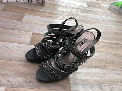 Ladies Black Strapped Heels shoes stilettos Next Size 6. Worn Once