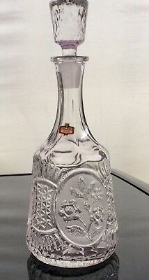 24% Lead Crystal Decanter. With Flower Design In Etched Panels