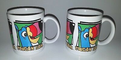 Kelloggs Toucan Sam Double Side Design White Coffee Mug LOT of (2) EUC Vintage
