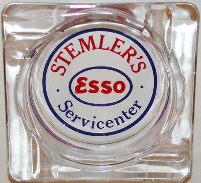 Vintage glass ashtray ESSO gas oil Stemlers Servicecenter in n-mint condition