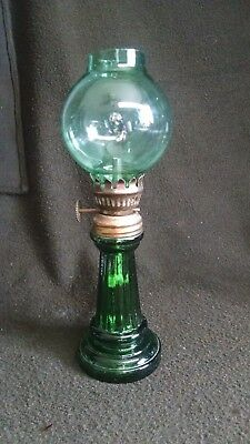 "Vintage Small 8.5"" Green Street Light Globe Oil Lamp Hong Kong"