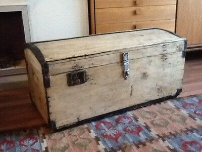 Gorgeous Antique Pitch Pine And Metal Bound Trunk/chest  #4093