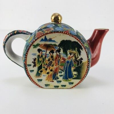 Vintage Japanese Geisha Small Porcelain Teapot Fine Hand Painted 22k Gold Trim