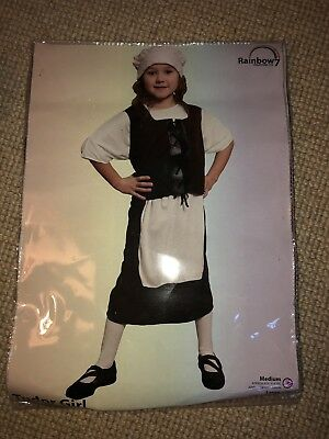 Tudor girl dress up outfit. Fancy dress. Old Fashioned outfit. Age 6-8 Size med