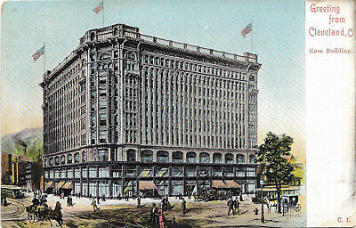 UDB postcard c1905, street view, greetings from the Rose Building, Cleveland, OH