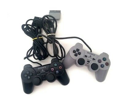 Lot 2 Original Sony Playstation Dualshock Controllers SCPH-10010 & 1200 Analog