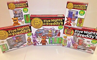 Awesome Five Nights At Freddy's Fnaf Construction Set Lot - 5 Sets