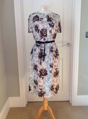 VINTAGE 1960s DRESS PINK GREY ROSES ABSTRACT PRINT  SIZE 12 MOD STYLE