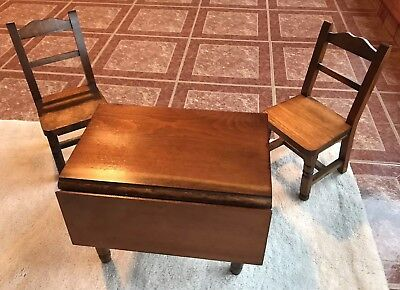 American Girl Pleasant Company Molly Drop-Leaf Table & Chairs Set Wooden Vintage
