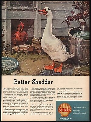 Vintage magazine ad SHELL OIL COMPANY 1945 duck and chicken Albert Staehle art