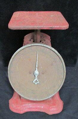 EARLY 1900's ANTIQUE LOOK COLUMBIA FAMILY 25 POUND TABLE TOP SCALE - WORKING