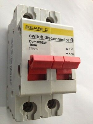 1 X Square D Switch Disconnector 100A 2 Pole Isolator DOM100SW 240V