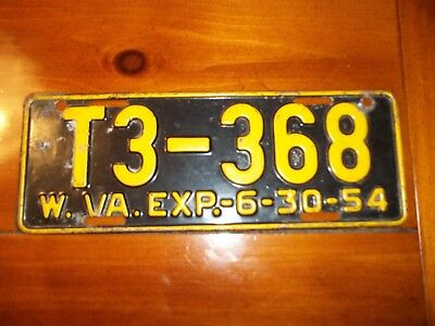 1954 West Virginia License Plate  Ford Chevy Dodge Buick Pontiac Truck