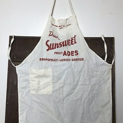 Vintage SUNSWEET Fruit Drink Advertising Apron Antique Grocery General Store