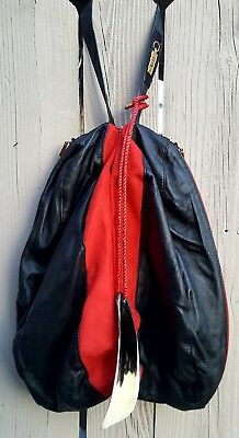 NEW Zilli Black Leather + Red Suede Double Pocket Shoe Bag w/Shoe Horn