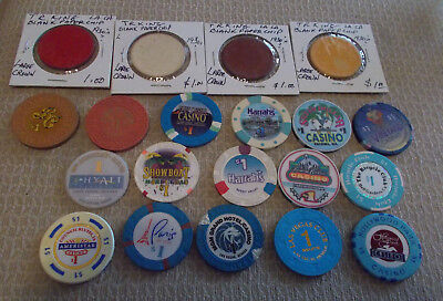 LOT OF 20 mixed $1.00 CASINO CHIPS from various LOCATIONS (#2) $2.99 shipping