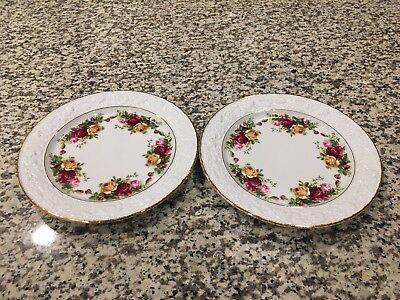 "Royal Albert Old Country Roses 2 Sculptural 9"" Salad Plates"