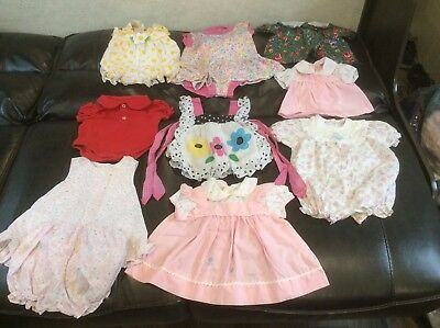 21 Piece Vintage Baby Girls Clothes Various Sizes