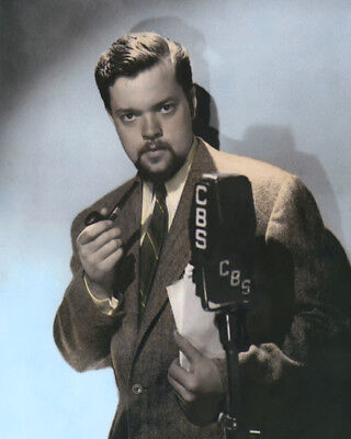 """ORSON WELLES ACTOR DIRECTOR WRITER PRODUCER 8x10"""" COLOR HAND TINTED PHOTOGRAPH"""