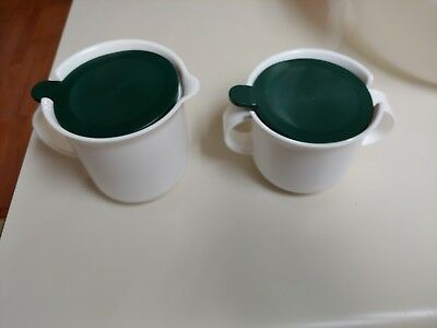 Vintage Tupperware Creamer And Sugar Set Green  Top 2310  2309 NEW OLD Stock