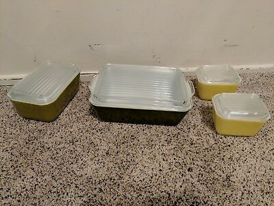 Vintage pyrex refrigerator dishes avocado green, 501 502 503 set of 8 glass lids