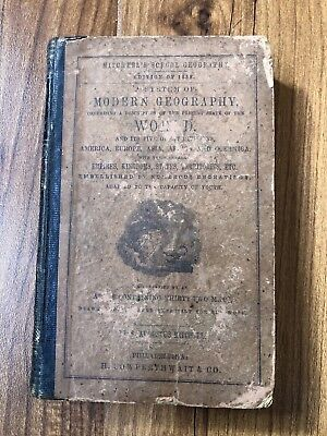 MITCHELL'S SCHOOL GEOGRAPHY 1858 Illustrated Textbook Atlas & Maps Hardcover