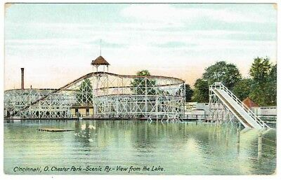 1912 - Cincinnati, OH - Chester Park Scenic Ry - View from the Lake - PSC - Used
