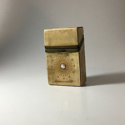 VTG BUXTON YELLOWISH CIGARETTE Hard Case with Flip Top Collectible