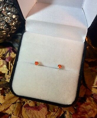 Vibrant natural Mexican Fire Opal 2.8mm round sterling silver stud earrings 🔥
