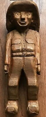 Vintage Antique Wood Hand Carved Folk Art Cowboy 9.5""