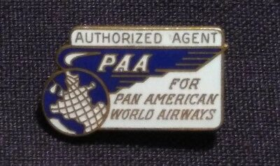 Pan Am Airlines Authorized Ticket Agent Badge 1940s 1950s PAA Wing Uniform Pin