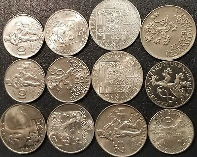 1933-1979 Czechoslovakia Silver, Lot of 12 Coins, 5.15 Troy Oz Gross Weight