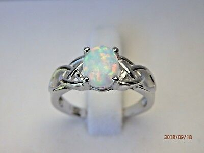 Solid 925 Sterling Silver White Opal Celtic Knot Ring -  Sizes M(6) 7(O) 8(Q)