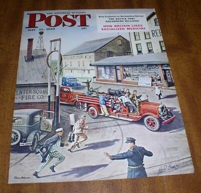 Vintage 1949 SE Post Firefighting Poster Stevan Dohanos Fire Truck