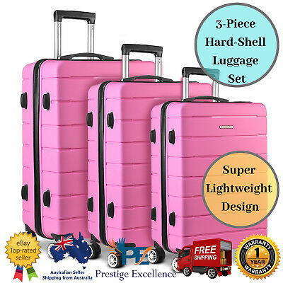 Wanderlite Travel Bag Suit Case Hard Shell Suitcase Luggage Trolley 3x Pink