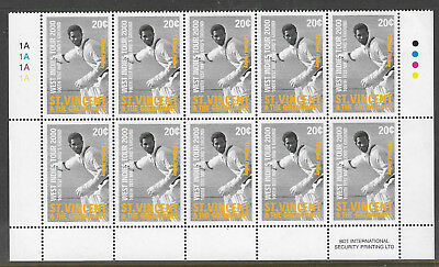 ST VINCENT 2000 LORD'S CRICKET 100th CENTENARY TEST MATCH 20c BLOCK of 10 MNH