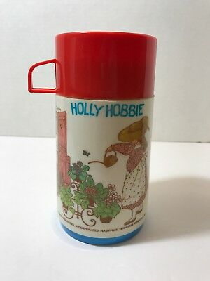 Vintage Holly Hobbie And Robby Thermos Aladdin American Greetings Red Lid 1978