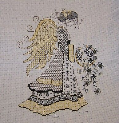 SALE Hand-Stitched Beautiful Blackwork Angel Finished Completed Cross Stitch