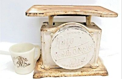 Antique Distressed Roto Dial Health O Meter Cast Iron Bathroom Scale  PATINA OLD
