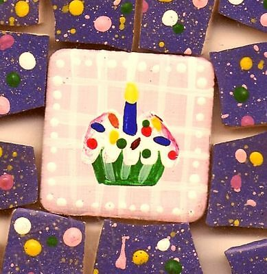 FREE SHIPPING 45 Hand Painted Cupcake CeLeBrAtIoN Mosaic Tiles