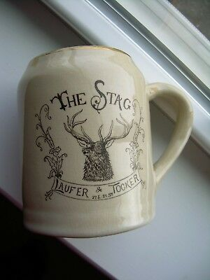Guernsey Ware Early 1900's Antique Advertising Mug for the Stag Cafe in New York