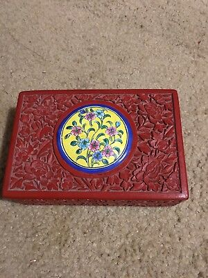 Antique Chinese Carved Red Lacquer Cinnabar Box With Enameled Top 5 1/2 In