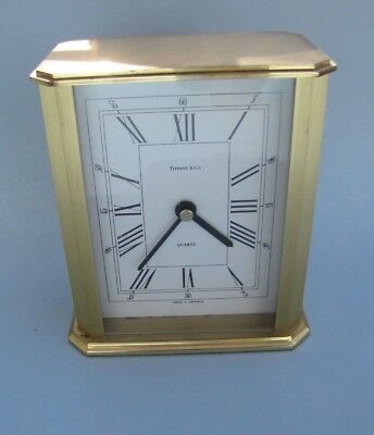 Vintage Brass & Glass MANTLE CLOCK  by Tiffany & Co, Carriage Clock~GERMAN~Works