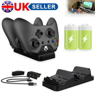 Dual Charging Dock Station Controller Charger + 2 Battery Packs For XBOX One UK