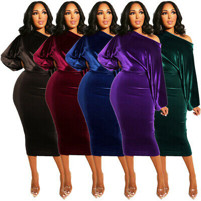 Women Boat Neck Long Puff Sleeve Velvet Casual Party Club Elegant Bodycon Dress