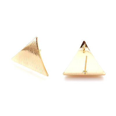 20pc Bumpy Brass Triangle Earring Posts Back Loop Gold Plated Stud Findings 22mm