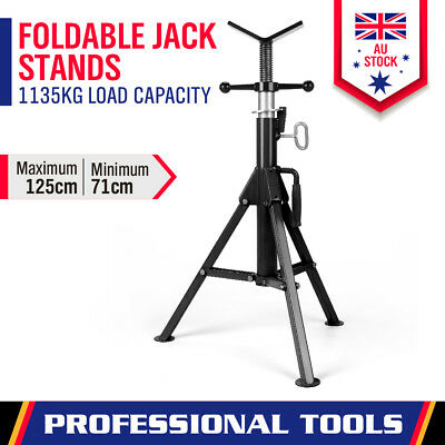 Welding Stand Pipe Jack Stand Folding Legs Heavy Duty Adjustable Height 125CM